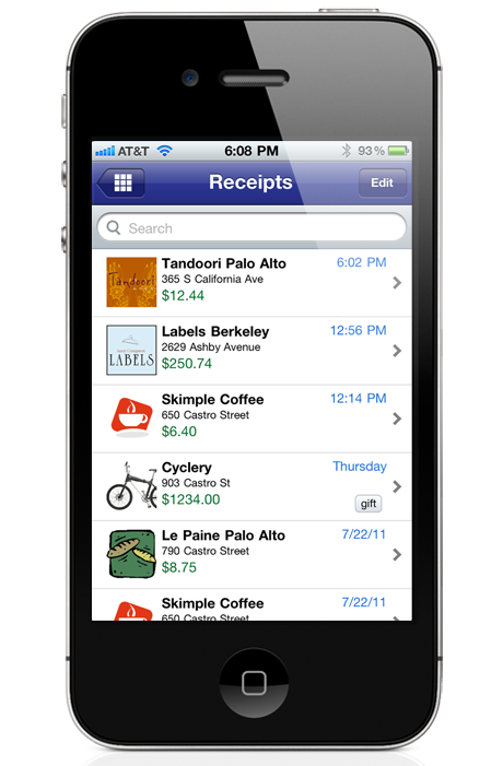 Digital Receipts for iOS